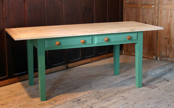 green kitchen table with 2 drawers
